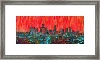 Houston Skyline Night 58 - Pa Framed Print by Leonardo Digenio