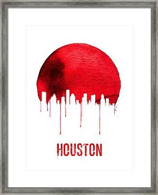 Houston Skyline Red Framed Print