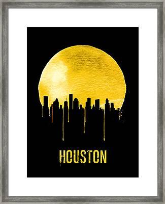 Houston Skyline Yellow Framed Print by Naxart Studio