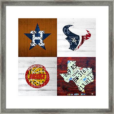 Houston Sports Fan Recycled Vintage Texas License Plate Art Astros Texans Rockets And State Map Framed Print