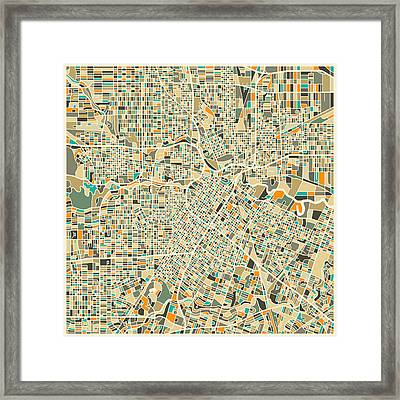 Houston Texas Map Framed Print by Jazzberry Blue