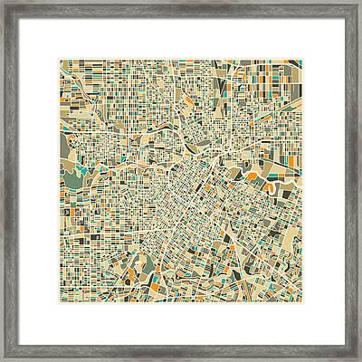 Houston Texas Map Framed Print