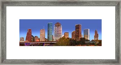 Houston Texas Skyline At Dusk Framed Print