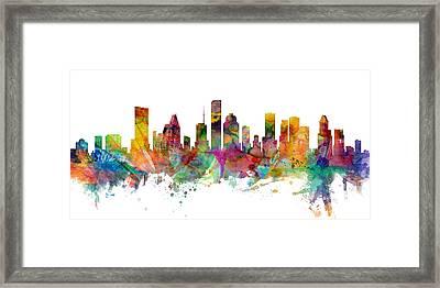 Houston Texas Skyline Panoramic Framed Print by Michael Tompsett