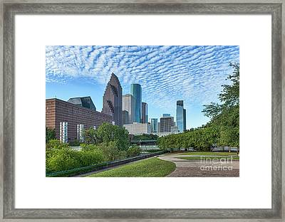 Houstons Skyline Sesquicentennial Park Framed Print by Tod and Cynthia Grubbs