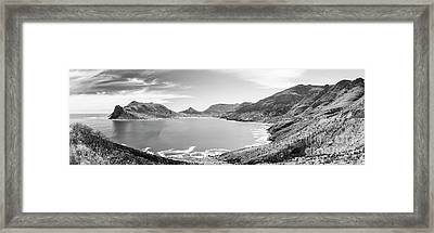 Framed Print featuring the photograph Hout Bay Panorama Black And White by Tim Hester