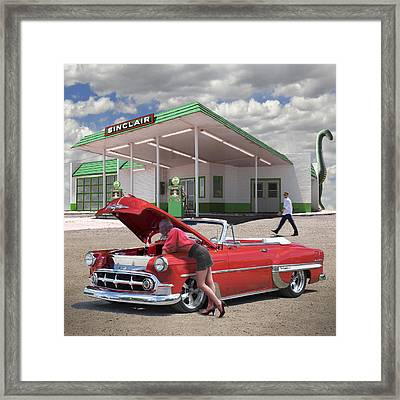Over Heating At The Sinclair Station Framed Print by Mike McGlothlen