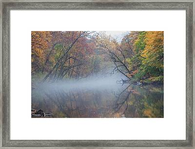 Hovering Mist On The Wissahickon Creek Framed Print by Bill Cannon