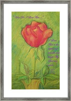 Framed Print featuring the drawing How Do I Love Thee ? by Denise Fulmer