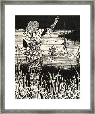 How Sir Bedivere Cast The Sword Excalibur Into The Water Framed Print