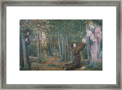How The Virgin Came To Brother Conrad In Offia And Laid Her Son In His Arms Framed Print