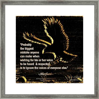 How To Hear Each Other  Framed Print by Aberjhani