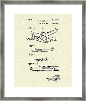 Howard Hughes Airplane 1944 Patent Art  Framed Print by Prior Art Design