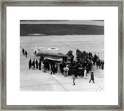 Howard Hughes Lands At Floyd Bennett Framed Print by Everett