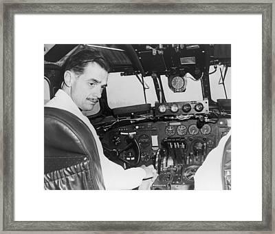 Howard Hughes Seated In The Cockpit Twa Framed Print by Everett