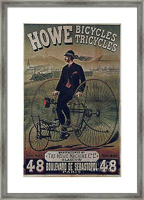 Howe Bicycles Tricycles Vintage Cycle Poster Framed Print