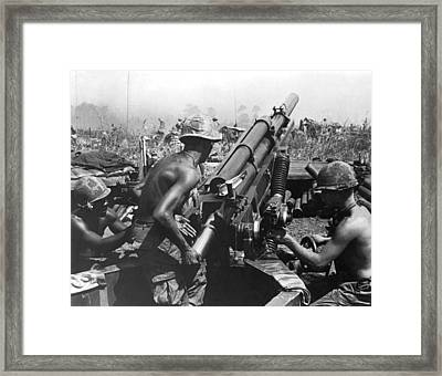 Howitzer Crew In Action Framed Print by Underwood Archives