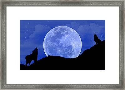 Howl At The Moon Framed Print by Evelyn Patrick
