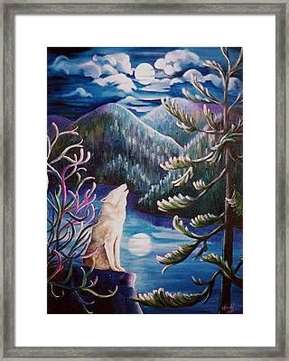 Framed Print featuring the painting Howlin' The Blues by Renate Nadi Wesley