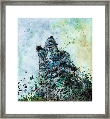 Howling Wolf Floral 3 Framed Print by Bekim Art