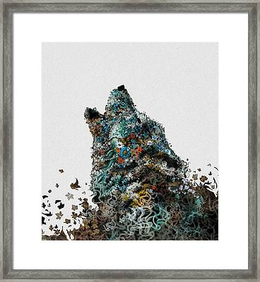 Howling Wolf Floral 4 Framed Print by Bekim Art