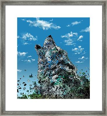 Howling Wolf Floral 5 Framed Print by Bekim Art