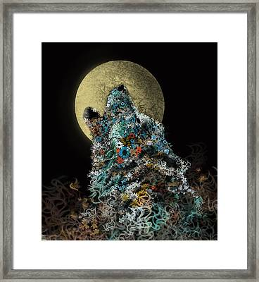 Howling Wolf Floral Framed Print