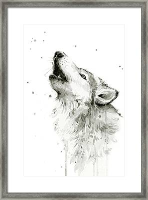 Howling Wolf Watercolor Framed Print