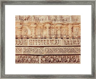 Ancient Hoyshala Mural In India Framed Print
