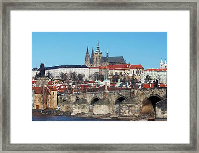 Hradcany - Cathedral Of St Vitus And Charles Bridge Framed Print by Michal Boubin
