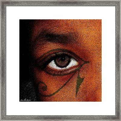 Framed Print featuring the digital art Hru's Eye by Iowan Stone-Flowers