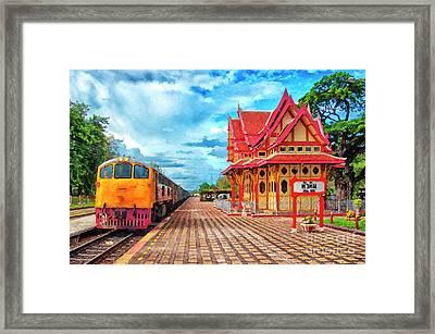Hua Hin Train Station Digital Painting Framed Print