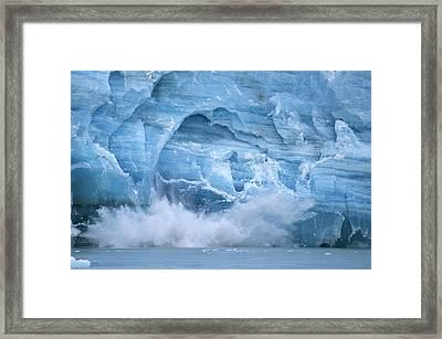 Hubbard Glacier Calving Chunks Of Ice Framed Print by Michael Melford