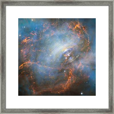 Hubble Captures The Beating Heart Of The Crab Nebula Framed Print