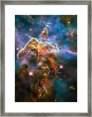 Hubble Captures View Of Mystic Mountain Framed Print by Marco Oliveira