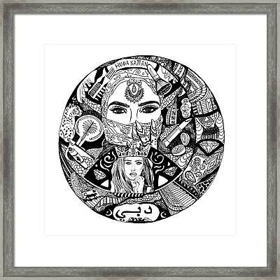 Huda Kattan Contour Drawing Framed Print by Kenal Louis