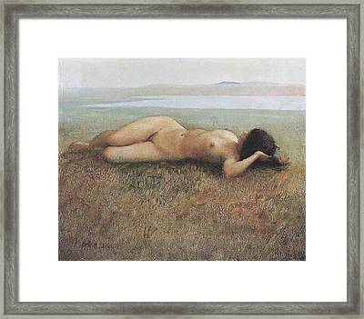 Hude On Grassland Framed Print