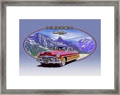 Hudson Hornet Travels The Tetons Framed Print by Ed Dooley