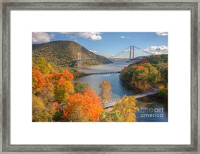 Hudson River And Bridges Framed Print by Clarence Holmes