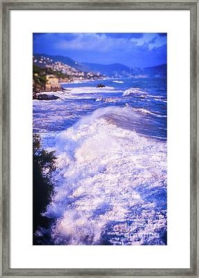 Framed Print featuring the photograph Huge Wave In Ligurian Sea by Silvia Ganora