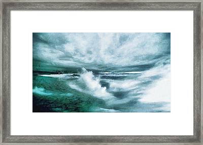 Huge Waves And Stormy Sea Art Painting Framed Print by Wall Art Prints