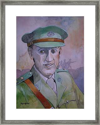 Framed Print featuring the painting Hugo Throssel Vc by Ray Agius