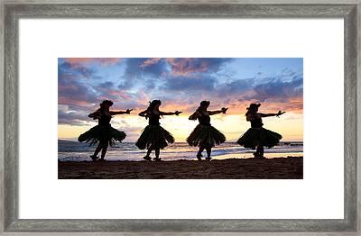 Hula At Sunset Framed Print