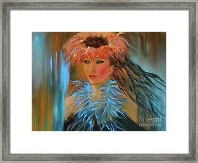 Hula In Turquoise Framed Print by Jenny Lee