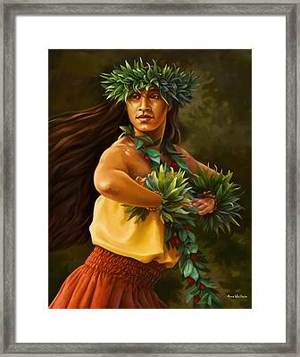 Hula Dancer Framed Print by Anne Wertheim