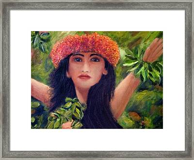 Hula Dancer Kahiko #422 Framed Print by Donald k Hall