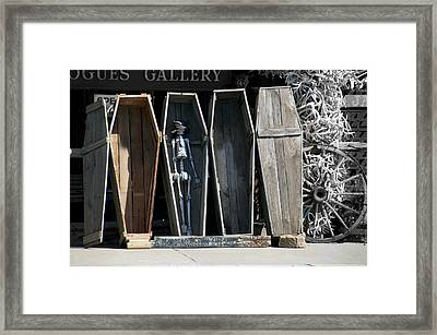 Hulett Wyoming Mr Bones And Wooden Caskets Sc Framed Print by Thomas Woolworth