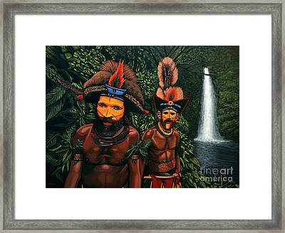 Huli Men In The Jungle Of Papua New Guinea Framed Print by Paul Meijering