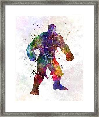 Hulk 01 In Watercolor Framed Print by Pablo Romero