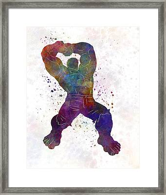 Hulk 02 In Watercolor Framed Print by Pablo Romero